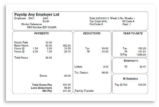 Picture of a complete payslip